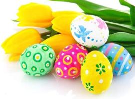 Fotogafia uova di Pasqua e tulipani
