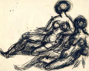 Disegno di Broggini con due figure nude