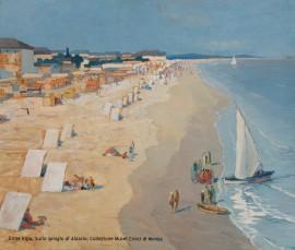 Sulla spiaggia di Alassio, Erme Ripa, 1931, olio su tela, Collezione Musei Civici di Monza