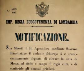 Notificazione Monza 1816