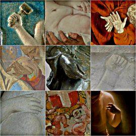 """Collage di opere del museo""""Le mani nell'arte"""""""