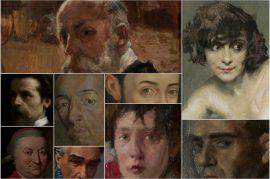 Collage di vari ritratti esposti al museo