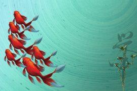Pesciolini rossi che nuotano