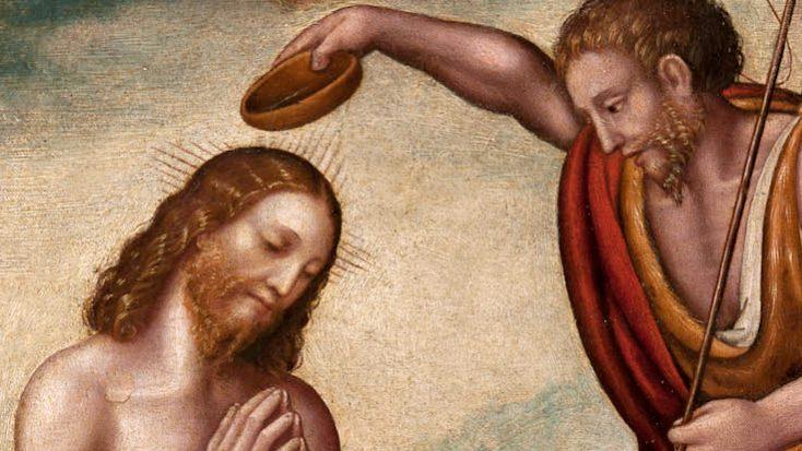 """Pittore lombardo (cerchia di Marco d'Oggiono?) """"Battesimo di Cristo"""" 1525 -1550 (part.)"""