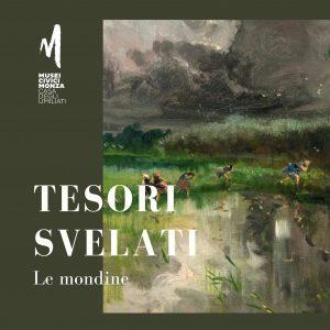 """Particolare del dipinto """"Zelata. Temporale in risaia"""" di Pompeo Mariani con scritta Tesori svelati. Le mondine"""
